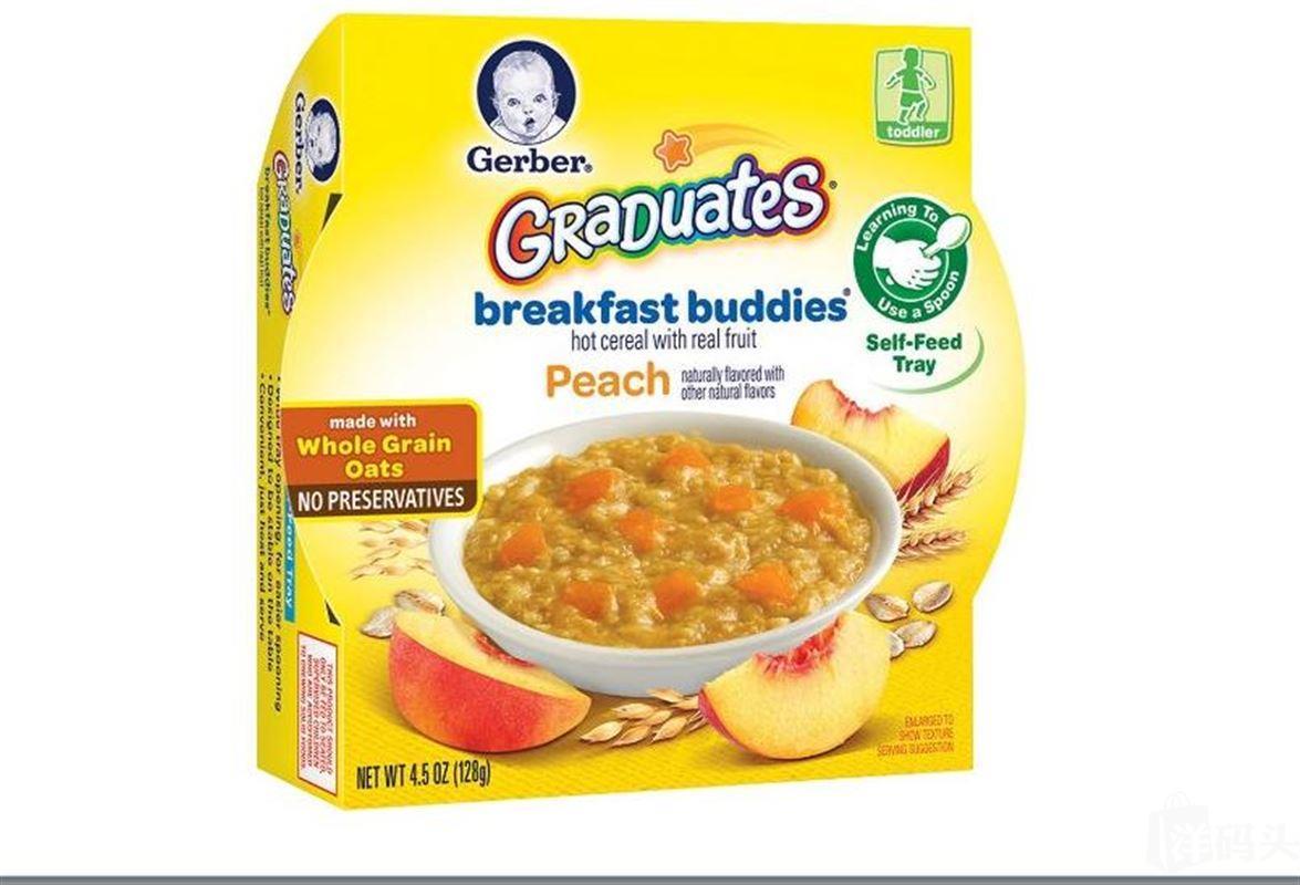 美国嘉宝Gerber谷物黄桃早餐泥 128g维生素矿物质