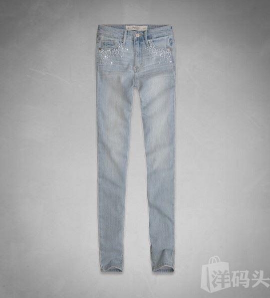 美国代购Abercrombie&Fitch女式钉珠水钻小脚牛仔裤A&F JEANS