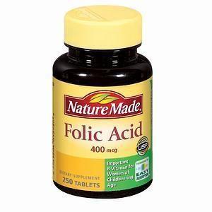 美国直邮 Nature Made Folic Acid 400mcg 250粒叶酸孕妇必备
