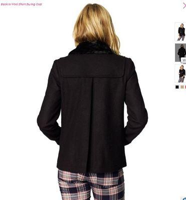 美国现货Juicy Couture橘兹女式毛领牛角扣毛呢大衣Swing Coat