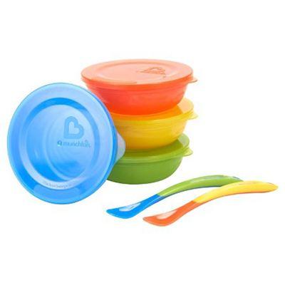 美国Munchkin麦肯奇婴儿碗勺6件套 宝宝儿童餐具带盖餐碗辅食套装