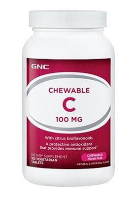 GNC 维生素C 咀嚼片 100毫克 180粒 复合水果味 美白抗氧化